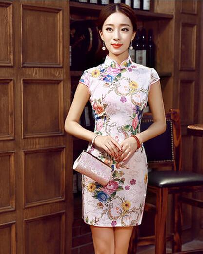 977f5a9f192 Роскошные 2015 короткие cheongsam Винтаж лето осень один кусок платье  женщин мода Slim одежды