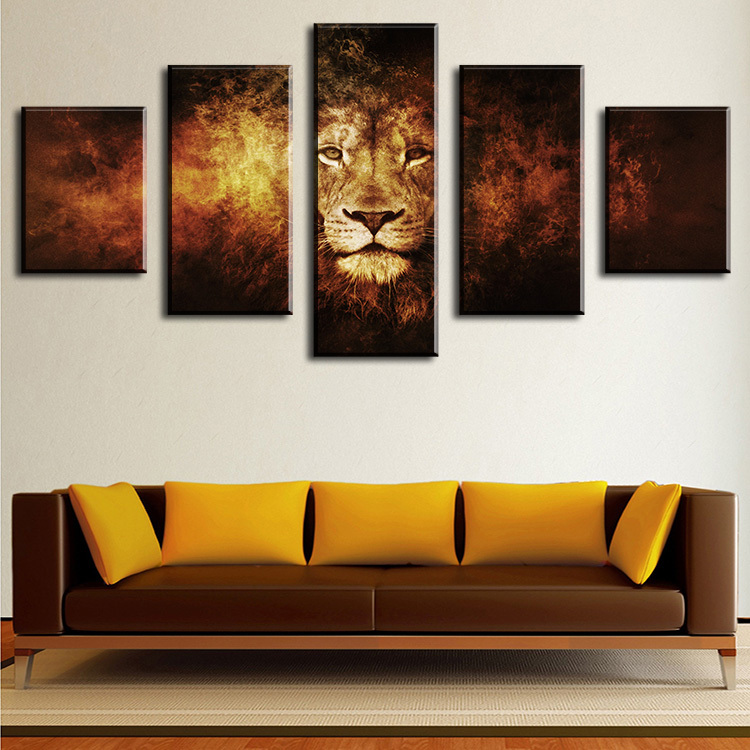 5 piece lion modern home wall decor canvas picture art hd print wall painting set of 5 each. Black Bedroom Furniture Sets. Home Design Ideas