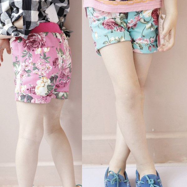 High Quality New Kids Girls Floral Pattern Short Pants Cuffed Leg Cotton Bottoms Trousers 1 6YKids