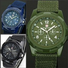 New Solider Military Army Men's Sport Style Canvas Belt Luminous Quartz Wrist Watch Free Shipping