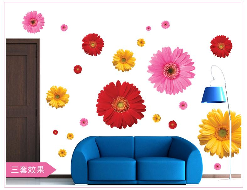 flower wall stickers living room home decorations zooyoo6015 adesivo de parede diy pvc decals colorful mural
