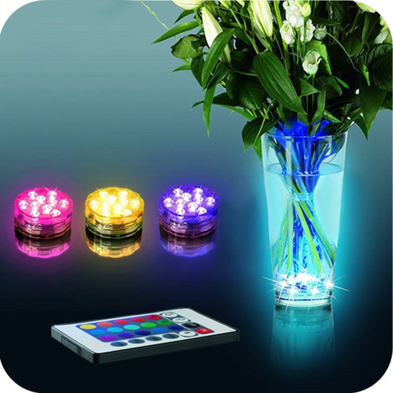 Waterproof Multi Color Submersible10LEDs Light Party Lamp Underwater W Remote Control Smart Home