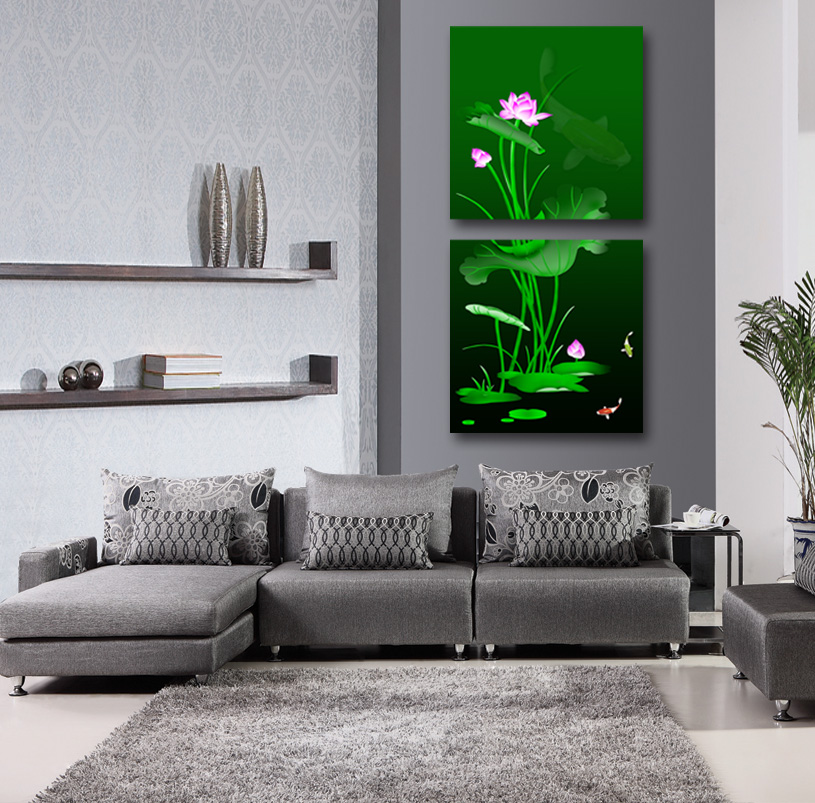 2 Pcs  water lily Flowers Wall Art Picture Modern Home Decor Living Room  Canvas Print Painting Wall picture ONE-024