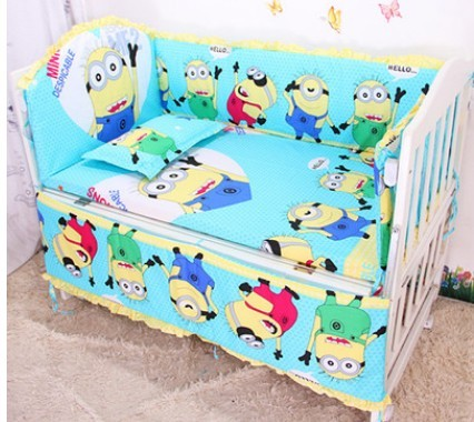 Promotion 6pcs Minions baby bedding bed set baby crib bedding package include bumpers sheet pillow cover