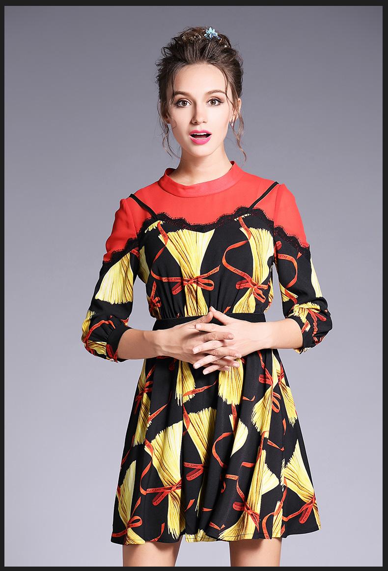 addab011b3 OUYALIN Women Plus Size Lace Beading Dress Fake Strap Printing Vestidos  2017 Autumn Summer Fashion Short Dresses L- 5XL