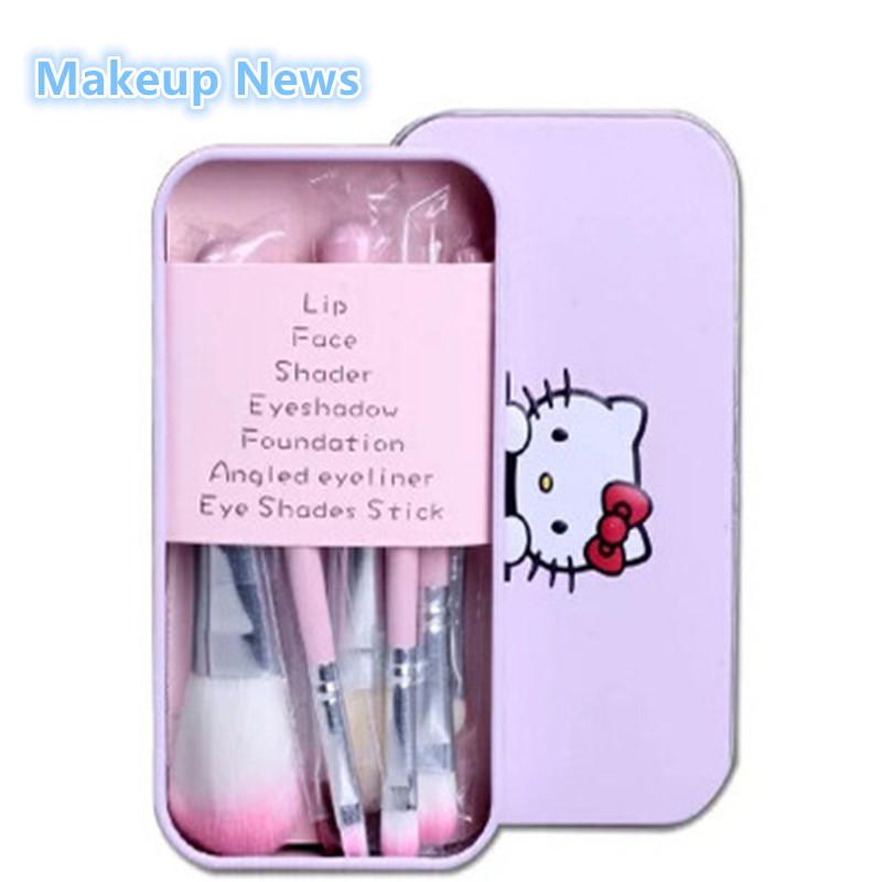 Wholesale-Hello Kitty 7Pcs Makeup brushes Set for eyeshadow blusher  Cosmetic Brushes Tool kit maquiagem make up brush with Metal box