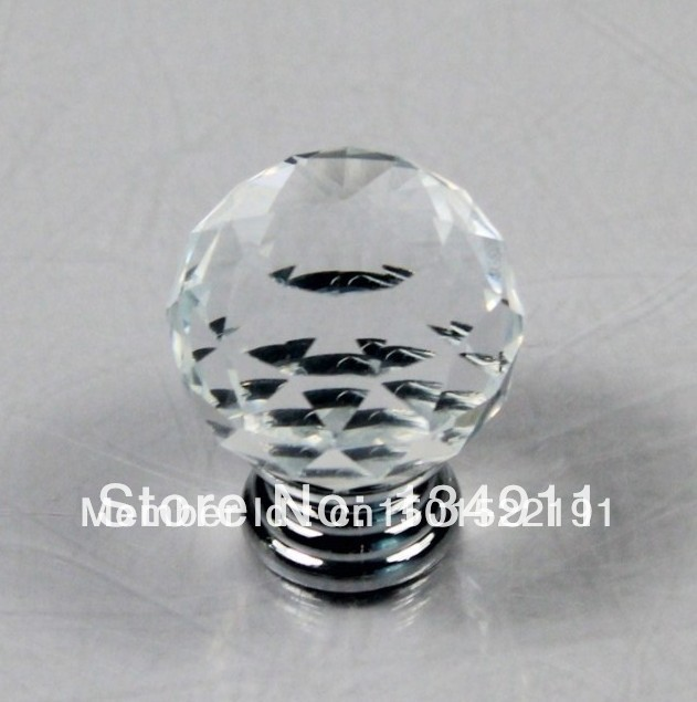 Kitchen Cabinet Knobs Cheap: 10pcs 30mm K9 Clear Crystal Handles Drawer Knobs Round