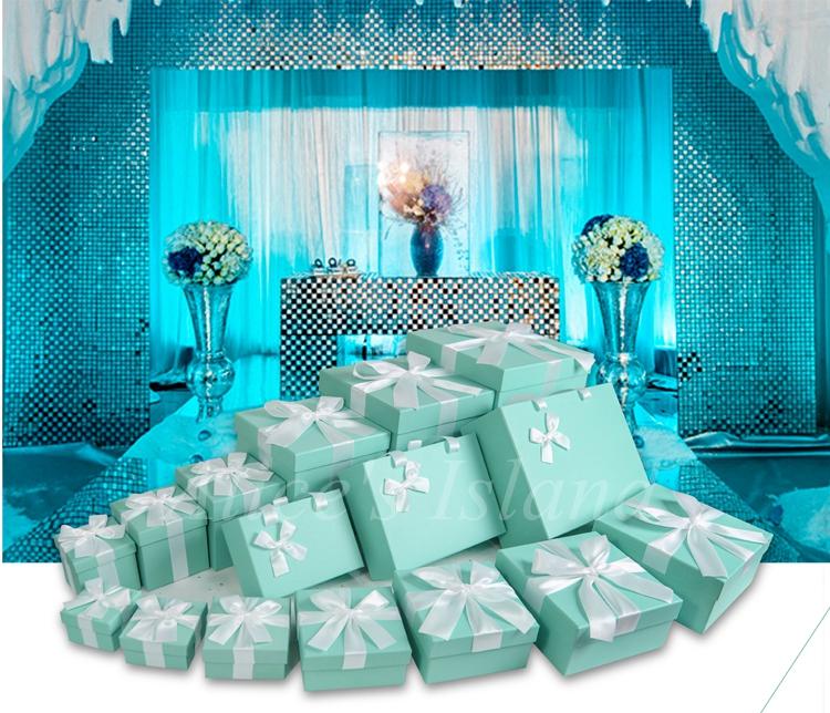 7pcs set tiffany blue ideas wedding decoration boxes theme wedding romantic baby shower home. Black Bedroom Furniture Sets. Home Design Ideas