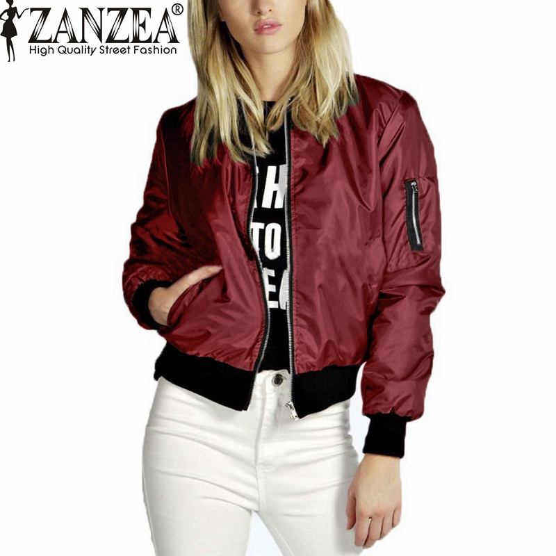 ZANZEA 2016 Spring Autumn Women Thin Jacket Tops Celeb Bomber Long Sleeve Coat Casual Stand Collar