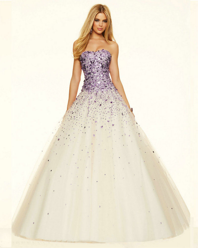 Beautiful Gold Wedding Dresses: Style 98021 Champagne And Gold Purple Sequins Long