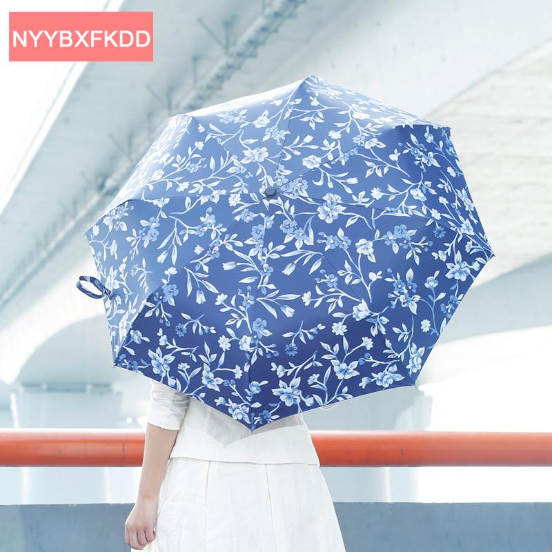 Творческий Три Складной Синий Цветочные Принты Многофункциональный Ветрозащитный Анти-Уф Солнечный зонтик дождь женщины Зонтик Guarda Chuva