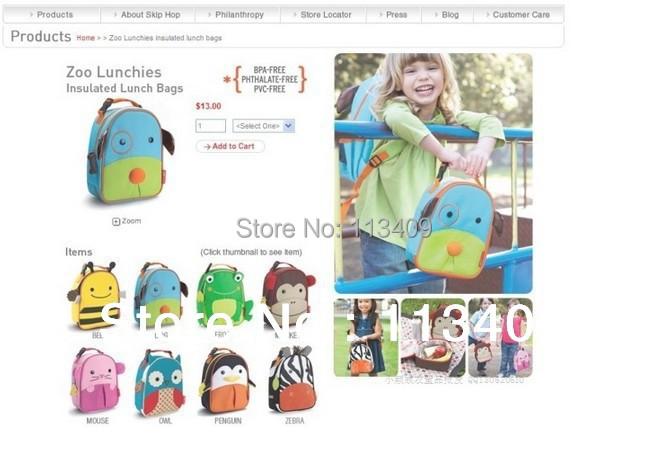 11 стилей зоопарк Lunchies изолированный сумки для дети, Изоляции сумки 23 x 19 x 8. 5 см. Wi-019