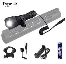 Тактический алюминиевый светодиодный фонарик L2 для охоты, 5 лм, белый масштабируемый регулируемый фокус, лампа для оружия, фонарь + 18650 + заря...(Китай)