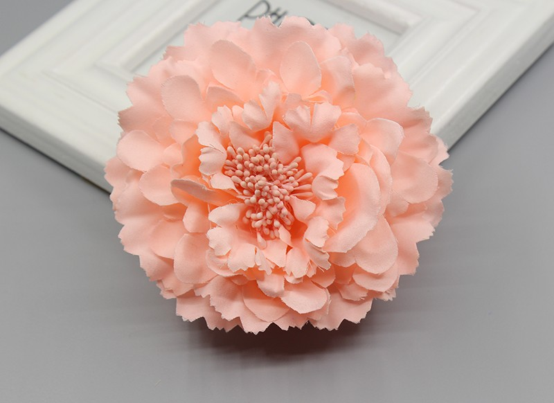 P Fabric Peony Flower Style Ponytail Hairc Brooch I6C5
