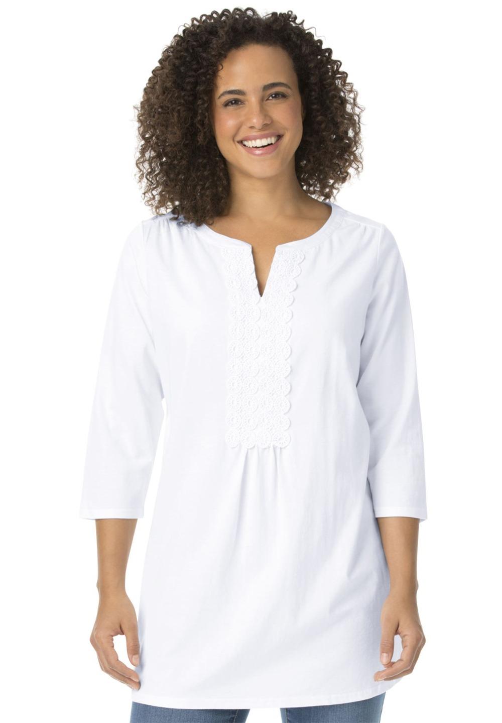 L 9XL Women Plus Size Lace Long Tunic T shirt Tee Top ...