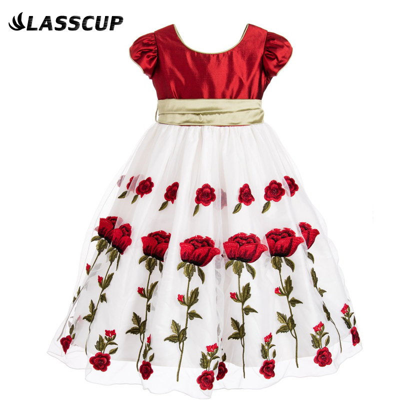 Girls Party Dresses Wedding 2016 Brand Baby Girls Dress Kids Clothes Rose Flower Children Clothing Princess Dress with Big Bow