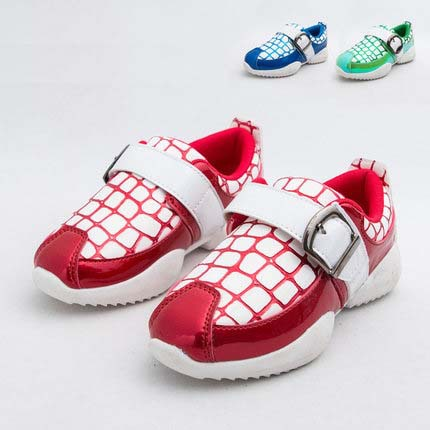 Patent Leather Kids Shoes 2015New Spring Fashion Children Sneakers Girls Boys Sport Shoes Grid EU26-30 Patent Leather Kids Shoes