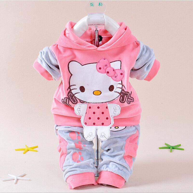 Retail 2016 New Baby Girls Spring Hello Kitty Clothing Set