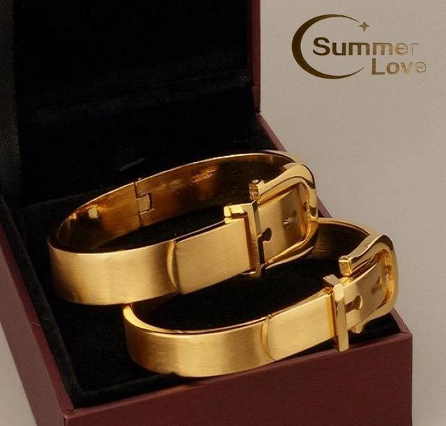 601407b1af9 Top Quality 316L Titanium Steel Carter Belt Bracelet Charm Gold Cuff Belt  Bangles Size For Women