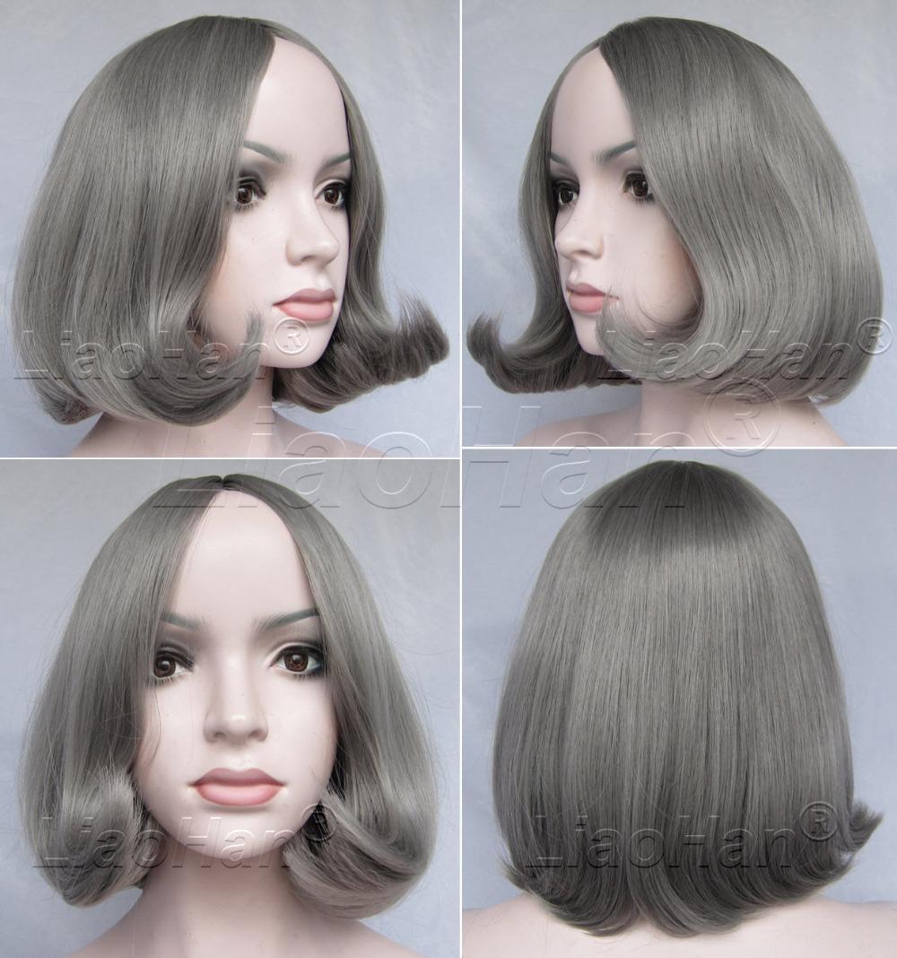 Women Fashion Short Grey Wig Short Bob Wig Grey Bob Hair