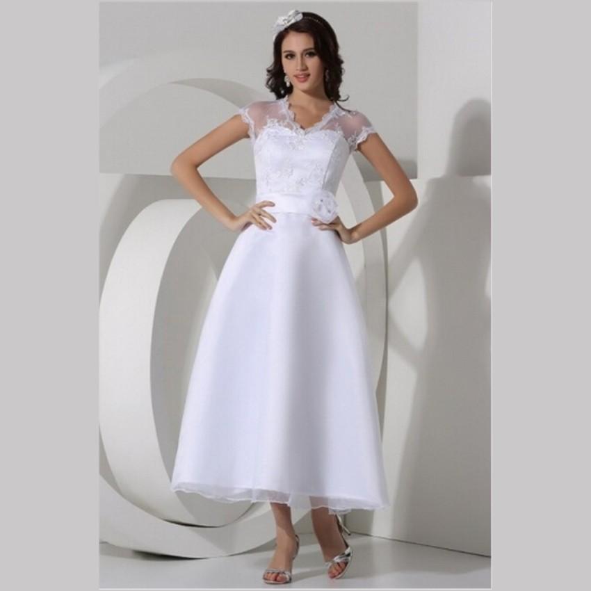 Vintage Lace Tea Length Beach Wedding Dress Short Sleeves: Aliexpress.com : Buy 2015 White Lace Tea Length Wedding