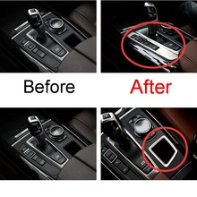 1PCS Car New DIY stainless steel gear button storage box decorative light box cover case for 2009-16 bmw X5 X6 part accessories