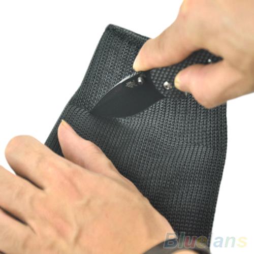 1 пара черный защита из нержавеющей стали страховочный трос Cut металлических мясник перчатки 1U91 2PA3