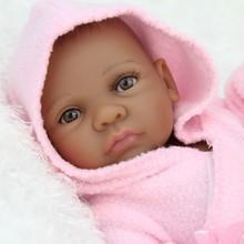 10Inch Handmade African American Baby Doll Black Girl Boy Full Silicone Body Mini Reborn Baby Dolls Girls Gifts Bebe bonecas