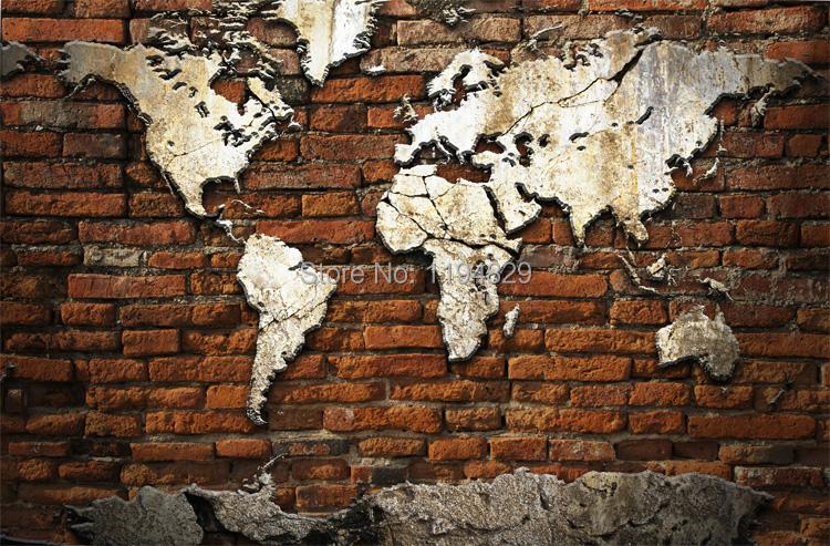 3D Nostalgic Retro Brick Wall World Map Large Mural
