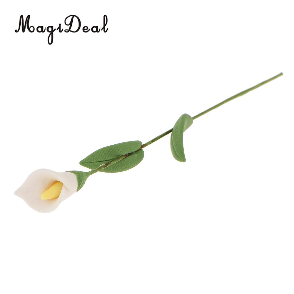 1:12 Handmade Dolls House Miniature Clay White Calla Flower For Home Garden Plant Room Bedroom Decor Acc Year-End Bargain Sale Toys & Hobbies