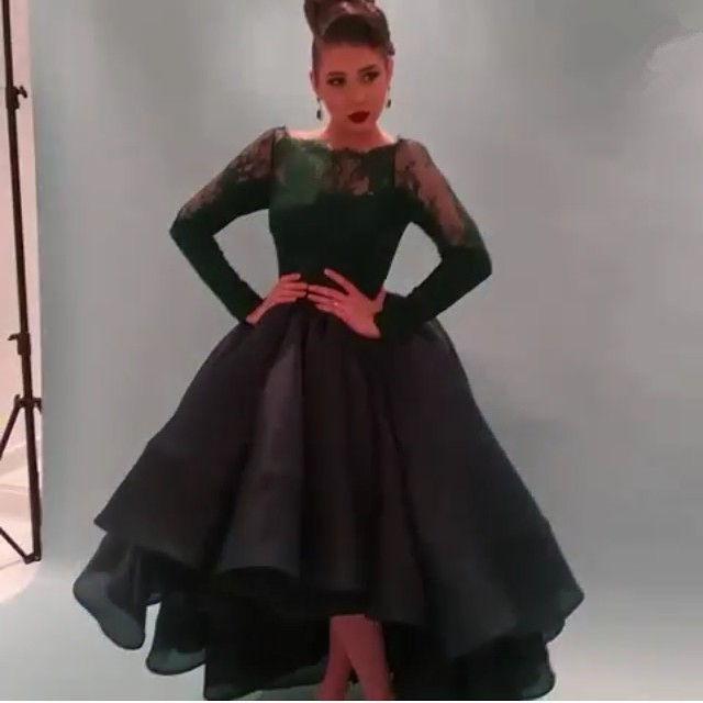 f0287618a3d29 Long Lace Sleeve Black Ball Gown Prom Dresses 2017 A Line Scoop High ...
