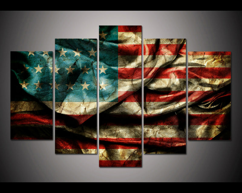 d60d207124e 5 panel large poster HD printed painting Retro American flag canvas print  art home decor wall art pictures for living room F0325