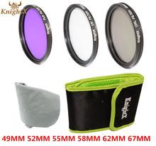 UV FLD CPL lens Filter Set bag case Cleaning Cloth For Nikon Sony Canon DSLR T5i T4i T3i T3 T2i 49mm 52mm 58mm 67mm 55mm lens