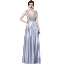 Сексуальное вечернее платье с треугольным вырезом, длинное сатиновое платье с блестками, 2018 новый дизайн(Китай)
