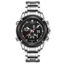 Часы NAVIFORCE мужские, спортивные, стальные, кварцевые, аналоговые, светодиодный(China)