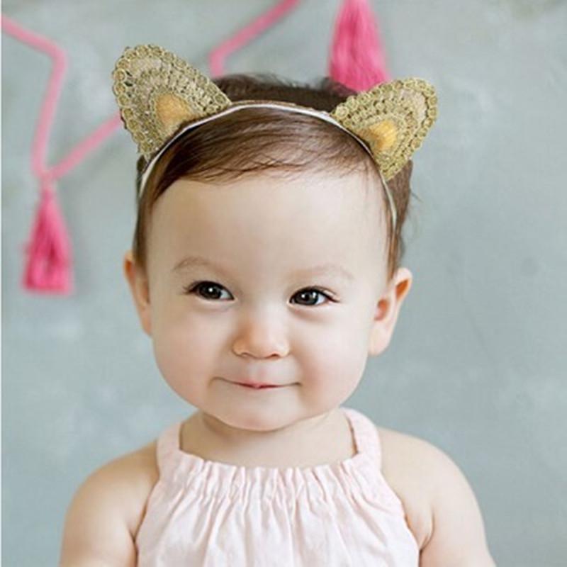 New Arrival Baby knitted Cat Ear Gold Headband Girls Hair Band New Head Wrape Infant Hair Accessories Princess Cartoon Headband