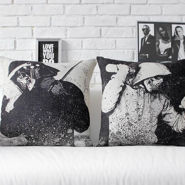 Free Shipping Linen Throw Pillow Hot Sale New Fashion Wedding Decor 45cm Graffiti Black White Skull Home Office Sofa Car Cushion