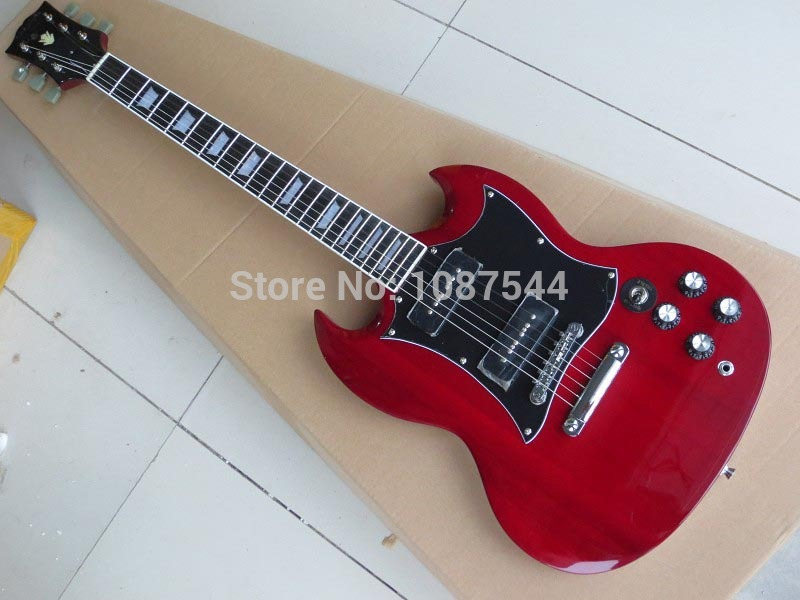 wholesale high quality best p90 pickups red color sg400 electric guitar double corner cut red sg. Black Bedroom Furniture Sets. Home Design Ideas