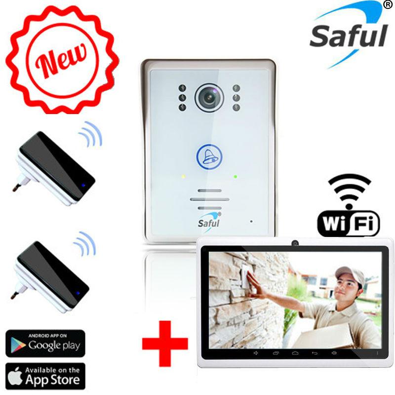 saful nouveau 7 tactile d verrouillage sans fil wifi ip maison interphone vid o porte t l phone. Black Bedroom Furniture Sets. Home Design Ideas