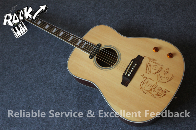 buy all real pictures john lennon signature j160e aoustic guitar top drawing. Black Bedroom Furniture Sets. Home Design Ideas