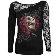 Frauen Blusen Shirts Gotische Spitze Schädeldruck Langarm Blusas Tunika  Schwarz Tops plus größe camisetas mujer femininas f0c1516ce4