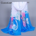 Clocolor Fashion Printed Chiffon Scarves for Women Bohemian Colorful Autumn Winter Scarf Female Fashion Shawl Scarves