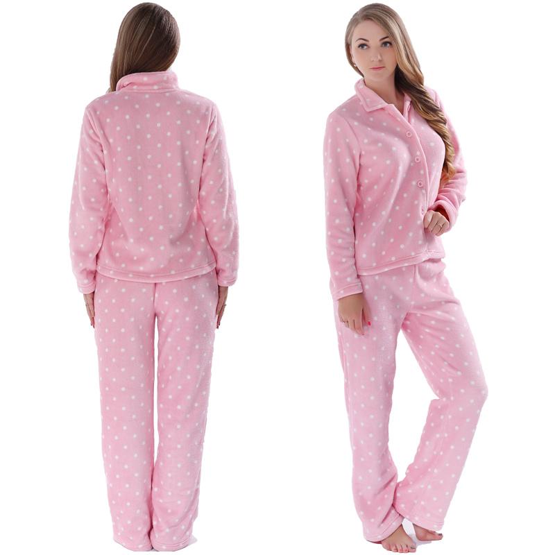 63cc5f14ed Women Sleepwear Spring Autumn Warm Coral Fleece Plus Size Pink Pyjama Suit  Nightwear 2 Pieces Pajama