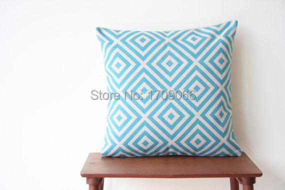 d coratif taie d 39 oreiller g om trique bleu turquoise diamant coussin housses de coussin coussins. Black Bedroom Furniture Sets. Home Design Ideas