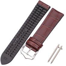 Ремешок для часов из натуральной кожи, мужские и женские резиновые силиконовые водонепроницаемые дышащие часы, ремешок, часы с застежкой, а...(Китай)