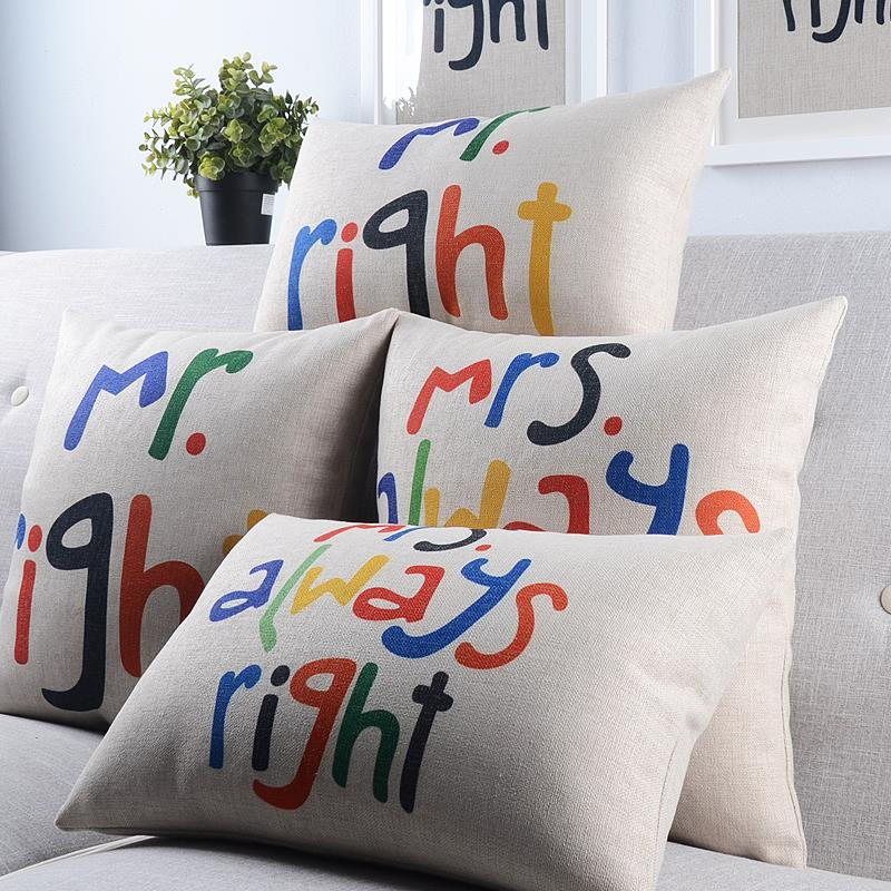 Free Shipping Simple Red Mr Right Cotton Linen Fabric Decorative Cushion 45cm 30x50cm Hot Sale New Home Fashion Waist Pillow