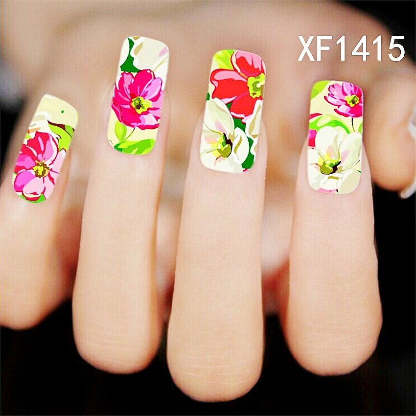 New Nail Art Flower Water Tranfer Sticker Nails Beauty Wraps Foil Polish Decals girl Temporary Tattoos