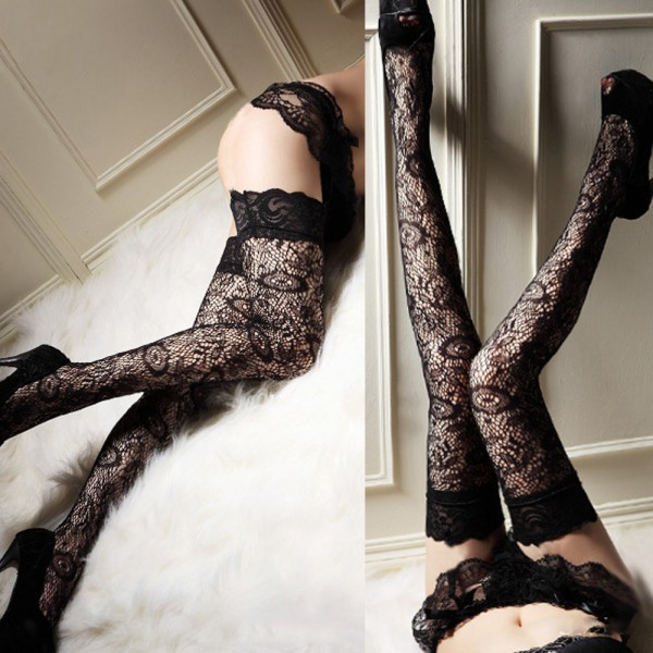 0ea980801 2019 Wholesale Sexy Women Stockings Thigh Highs Sheer Lace Top Thigh ...