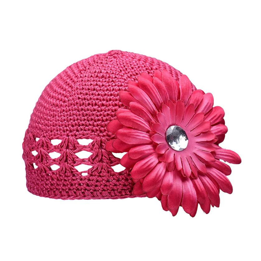 Baby girl Hat cap Flower Knitting Wool Crochet kid toddlers Hats winter autumn infant Baby Beanies