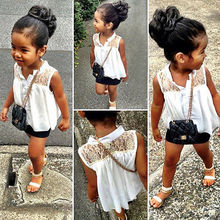 Hot Sell Baby Girls Kids White Sleeveless Lace Flower Chiffon Tops Shirt Blouse